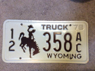 1978 Base Lincoln Co Wyoming 12 358 Truck License Plate