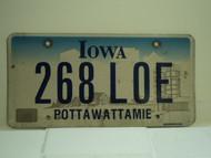 IOWA License Plate 268 LOE