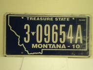 2010 MONTANA Treasure State License Plate  3 09654A