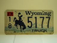 1999 WYOMING Bucking Bronco Truck License Plate 18 5177