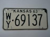 1963 KANSAS License Plate WY 69137
