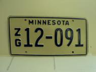 MINNESOTA  License Plate ZG 12 091