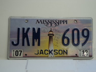 2012 MISSISSIPPI Lighthouse License Plate JKM 609
