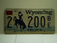 1999 Wyoming License Plate 2 200 BE