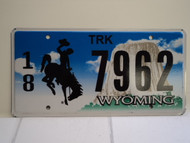 WYOMING Bucking Bronco Devils Tower Truck License Plate 18 7962