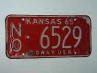 1965 KANSAS Midway USA License Plate NO 6529