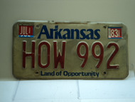 1983 ARKANSAS Natural State License Plate HOW 992
