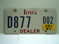 2007 IOWA Dealer License Plate  D877 002