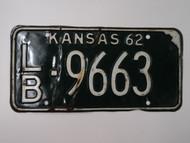 1962 KANSAS License Plate LB 9663