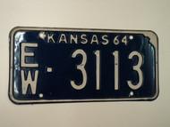 1964 KANSAS License Plate EW 3113