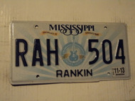 2013 MISSISSIPPI Birthplace of America's Music License Plate RAH 504