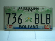 2004 MISSISSIPPI Magnolia License Plate 736 BLB