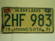 1971 1972 1973 MINNESOTA 10000 Lakes License Plate 2HF 983