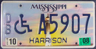 2008 Oct Mississippi DB A5907 License Plate