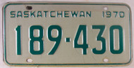 1970 Saskatchewan Canada 189-430 License Plate