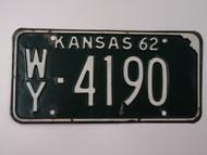 1962 KANSAS License Plate WY 4190