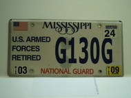 2009 MISSISSIPPI NATIONAL GAURD License Plate G130G