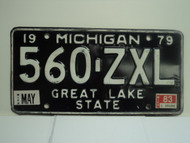 1979 MICHIGAN Great Lake State License Plate 560 ZXL