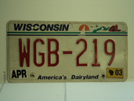 2003 WISCONSIN America's Dairyland License Plate WGB 219