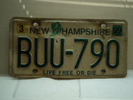 1999 NEW HAMPSHIRE Live Free or Die License Plate BUU 790