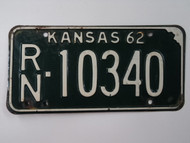 1962 KANSAS License Plate RN 10340