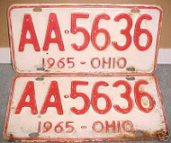 PAIR 1965 Ohio License Plates AA 5636