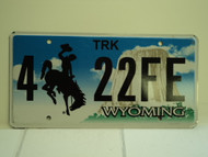 WYOMING Bucking Bronco Devils Tower Truck License Plate 4 22FE 1