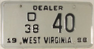 1998 West Virginia Dealer D 38 40 License Plate