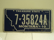 2010 MONTANA Treasure State License Plate 7 35824A