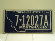 2010 MONTANA Treasure State License Plate 7012017A