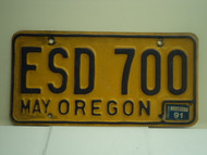1991 OREGON License Plate ESD 700