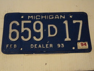 1994 MICHIGAN  DEALER License Plate 659D17