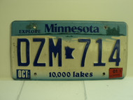 2001 MINNESOTA Explore 10,000 Lakes License Plate DZM 714 1