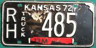 1972 Rush Kansas RH Truck 485 Black License Plate