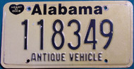 Alabama Antique Vehicle License Plate 118349 HOD