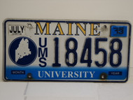 2013 MAINE UMS University License Plate 18458