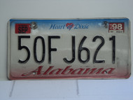 1998 ALABAMA Heart of Dixie License Plate 50FJ621