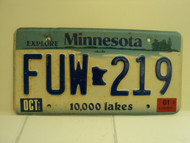 2001 MINNESOTA Explore 10,000 Lakes License Plate FUW 219