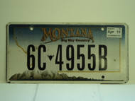 2011 MONTANA Big Sky Country License Plate 6C 4955B