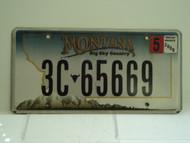 2009 MONTANA Big Sky License Plate 3C 65669