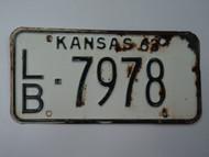 1963 KANSAS License Plate LB 7978