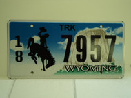 WYOMING Bucking Bronco Devils Tower Truck License Plate 18 7957