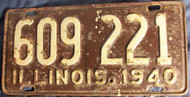 1941 Illinois 609 221 License Plate