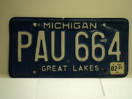 2001 MICHIGAN Great Lakes License Plate PAU 664