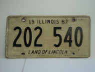 1967 ILLINOIS Land of Lincoln License Plate 202 540
