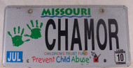 2010 Jul Missouri Vanity License plate CHAMOR 1