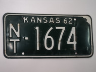 1962 KANSAS License Plate NT 1674