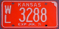 1971 Wilson Co WL Kansas License Plate