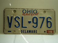 1996 OHIO Heart of it all License Plate VSL 976