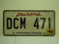 1996 LOUISIANA Sportsmans Paradise License Plate DCM 471